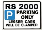 RS2000 Car Parking Sign - Giftfor rs 2000 ford escort mk2 models - Size Large 205 x 270mm